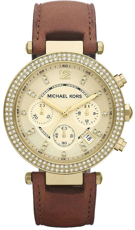 Michael Kors Parker Women S Gold Dial Leather Band Chronograph Watch Mk2249 Brown Leather Strap Watch Watches Women Michael Kors Michael Kors