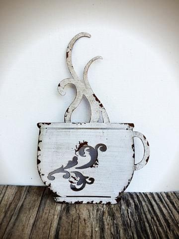 Laser Cut Metal Coffee Cup Kitchen Wall Art - Ivory & Burgundy ...