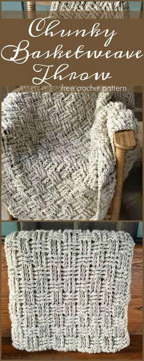 Chunky Basketweave Throw Crochet Pattern | Basket weave ...