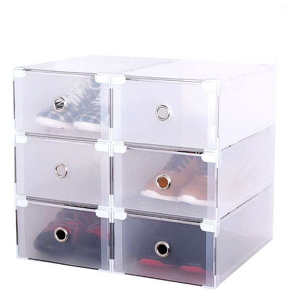 6 Clear Plastic Shoe Storage Transparent Boxes Container Organizer