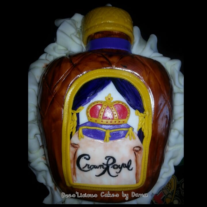 crown royal bottle made out of rice krispy treats cake topper