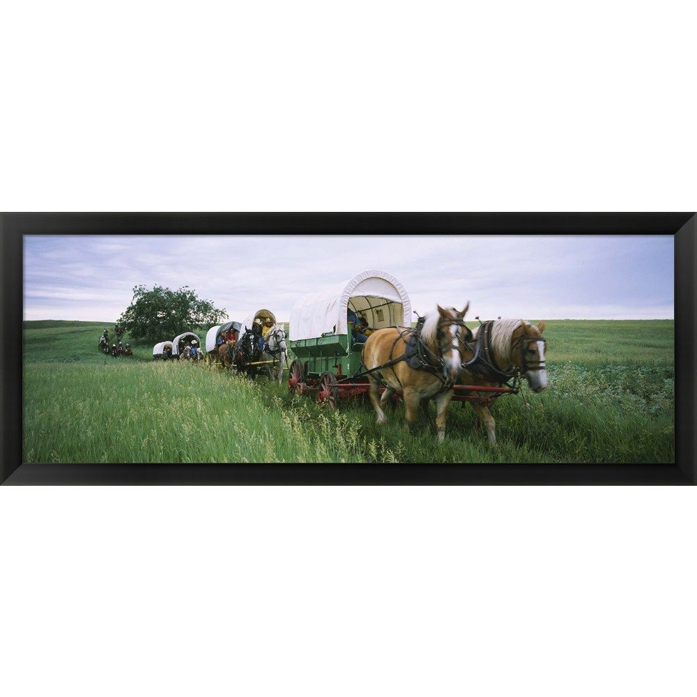 'Historical reenactment North Dakota' Framed Panoramic Photo