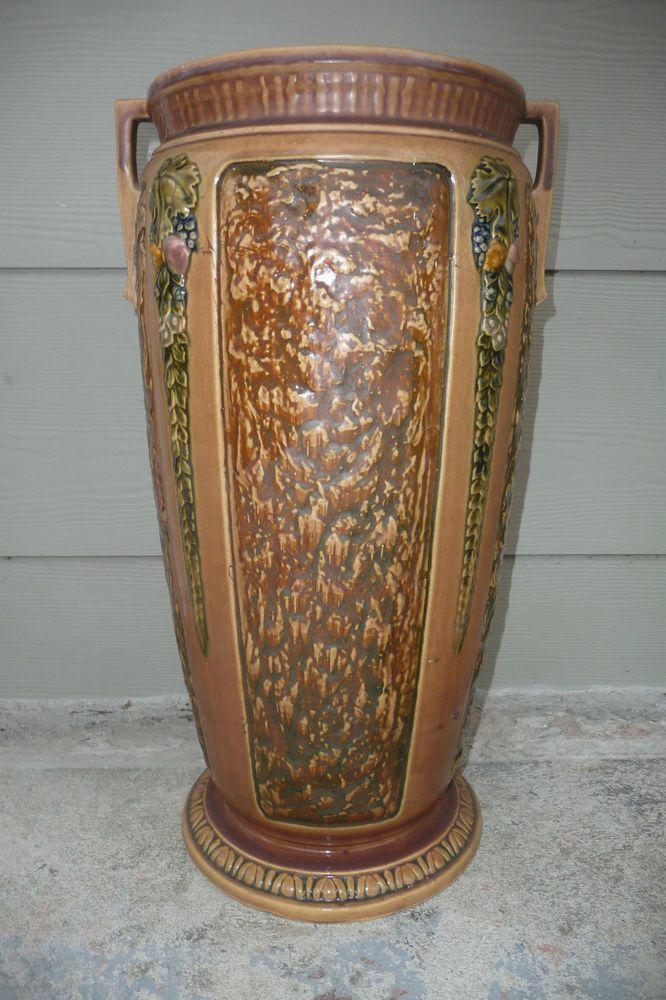 Huge Vintage 1920 S Roseville Florentine Art Pottery Floor Vase Pottery Art Roseville Pottery Arts Crafts Style