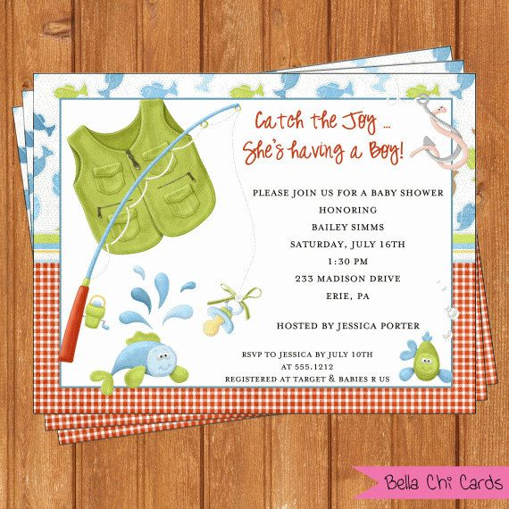 Awesome These Would Be So Cute!! Ahhhh!! Fishing Baby Shower Invitations BSI199DIY  5.5