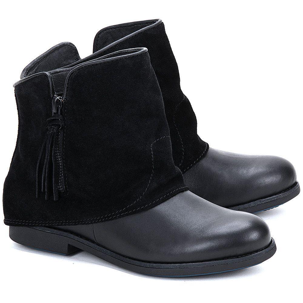 Emu Heysen Black Czarne Skorzane Botki Damskie Botki Buty Kobiety Mivo Boots Chukka Boots Shoes