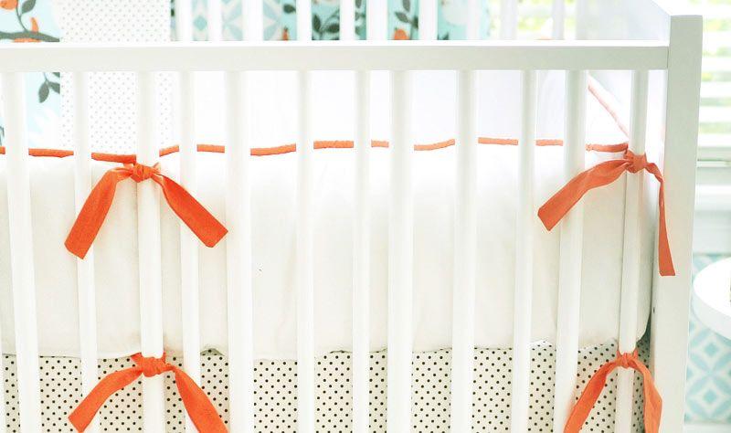 Orange Crib Bedding Bumper Orange Crib Bumper Baby Bedding Bumper Orange Crib Bumper White Crib Bumper Crib