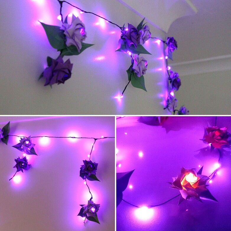 Origami Rose With Fairy Lights Wedding Venue Decoration