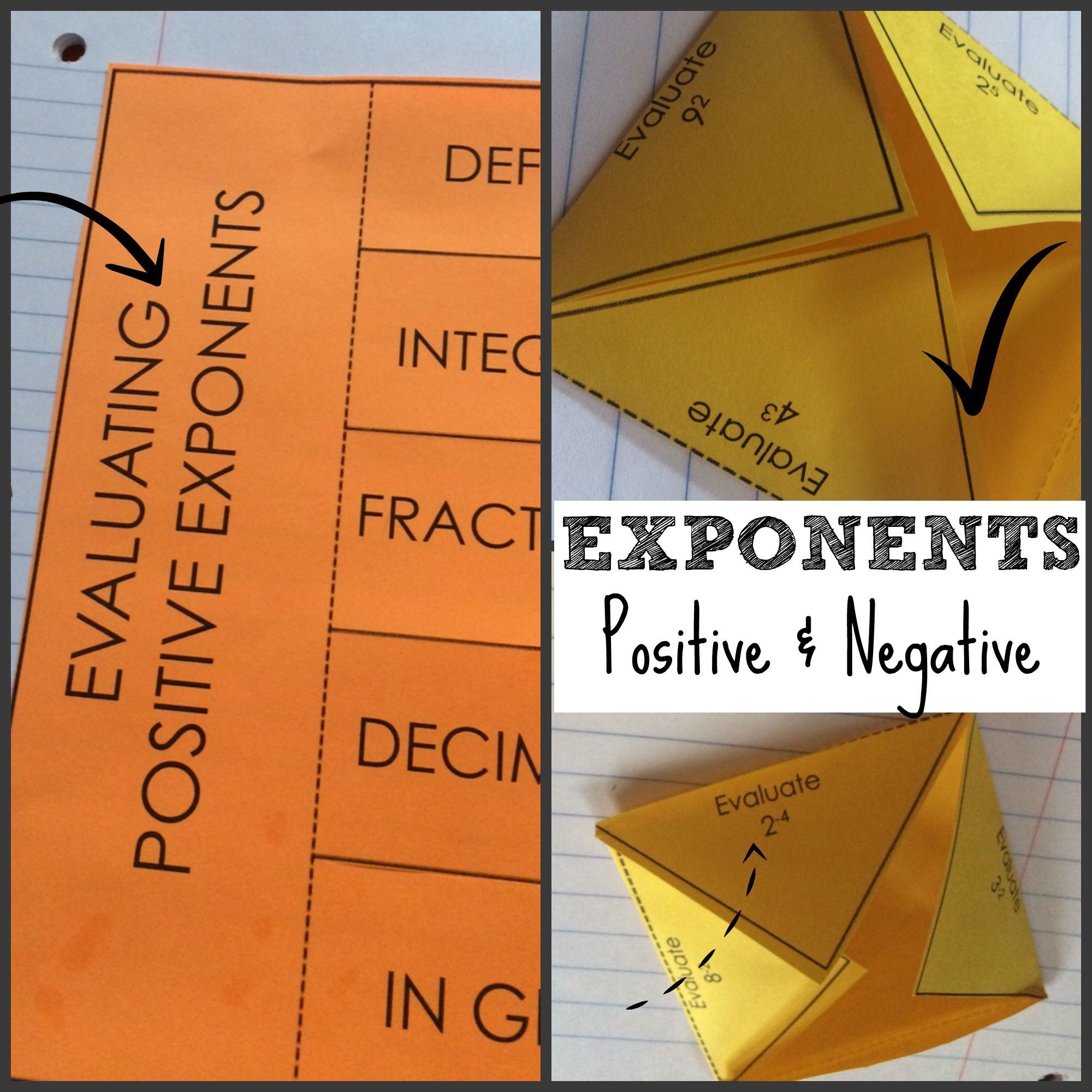 Positive And Negative Exponents Color Coded Interactive Notebook Foldable