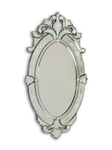 Hand cut and etched oval Venetian glass mirror frame. - LM2027 ...