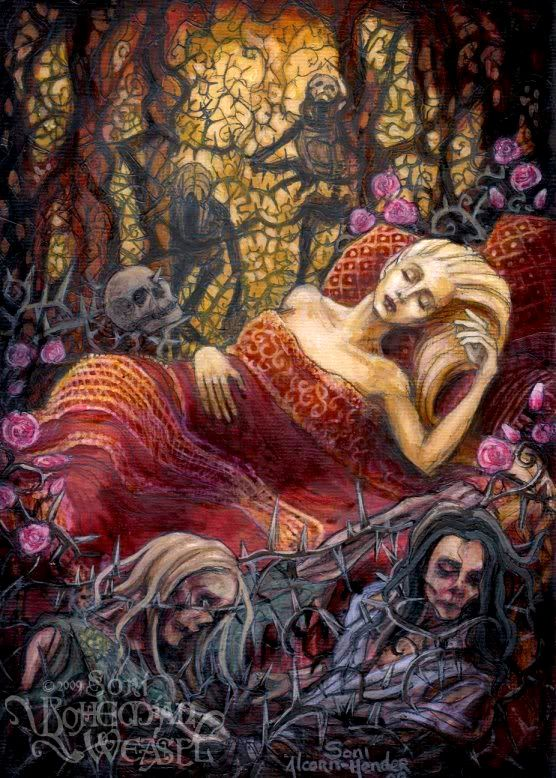 Sleeping Beauty and Suitors by BohemianWeasel.deviantart.com on @deviantART