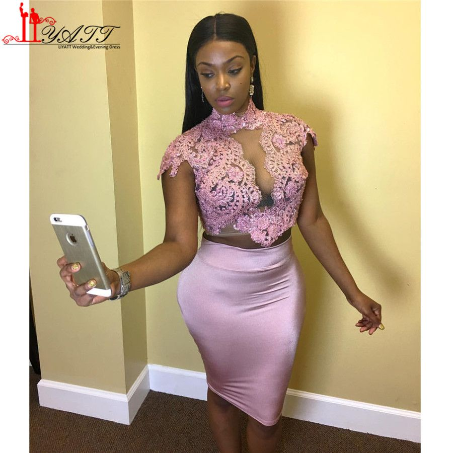 2017 Latest Designs High Neck Lace Sheath Pink Short Cocktail ...