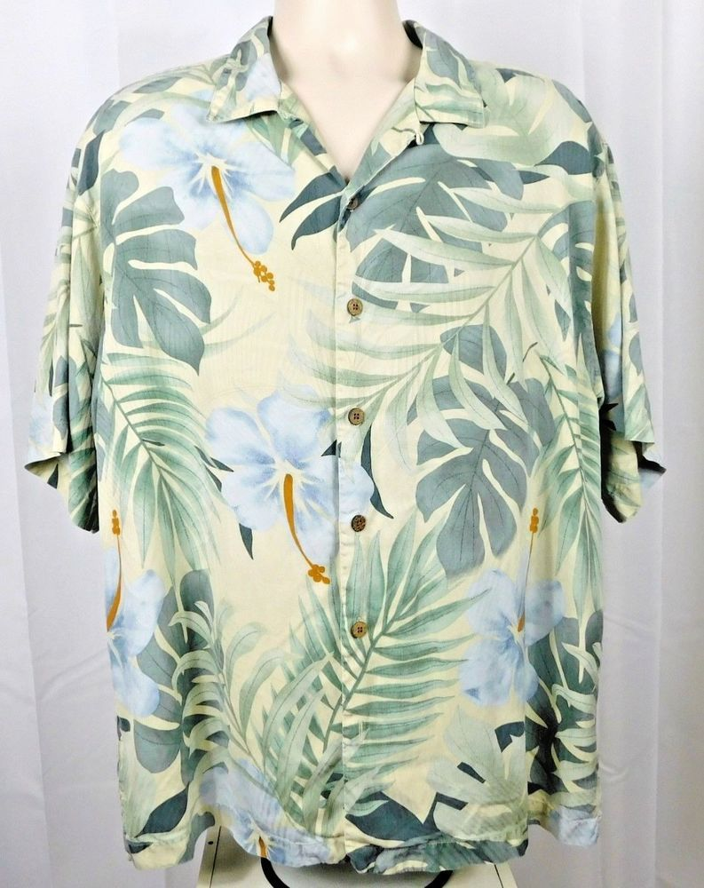 cf898e48 Tommy Bahama 100 % Silk Hawaiian Camp Shirt Large L Green Flowers Leaves # TommyBahama #Hawaiian