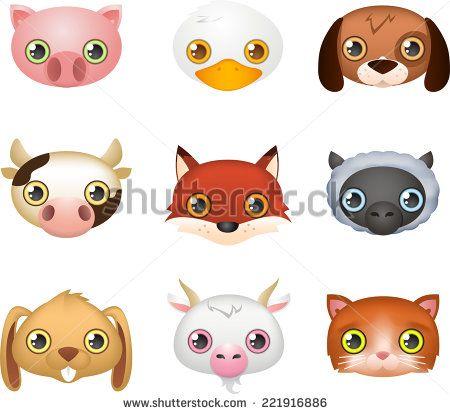 Cute farm animal faces like: Fox, Dog, Duck, Cow, Rabbit ...