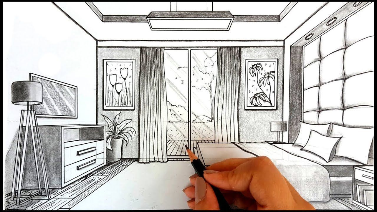 Drawing A Bedroom In One Point Perspective Timelapse How To Draw A Bedroom In One Point Per One Point Perspective Room One Point Perspective Perspective Room