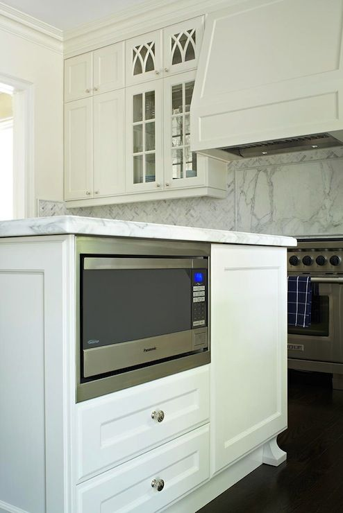 Microwave in kitchen island to conserve counter space and avoid over ...