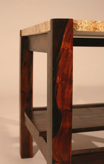 Pair Of Brazilian Rosewood And Granite Side Tables 5