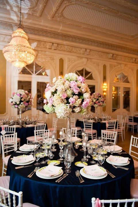 34 Elegant Navy And Blush Wedding Ideas Wedding Centerpieces