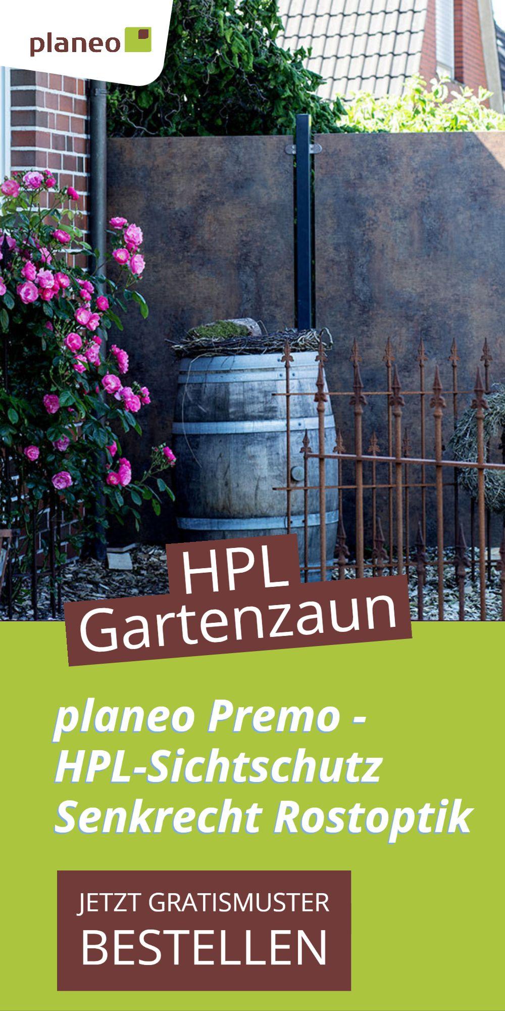 Planeo Premo Gartenzaun Hpl Sichtschutz Senkrecht Rostoptik