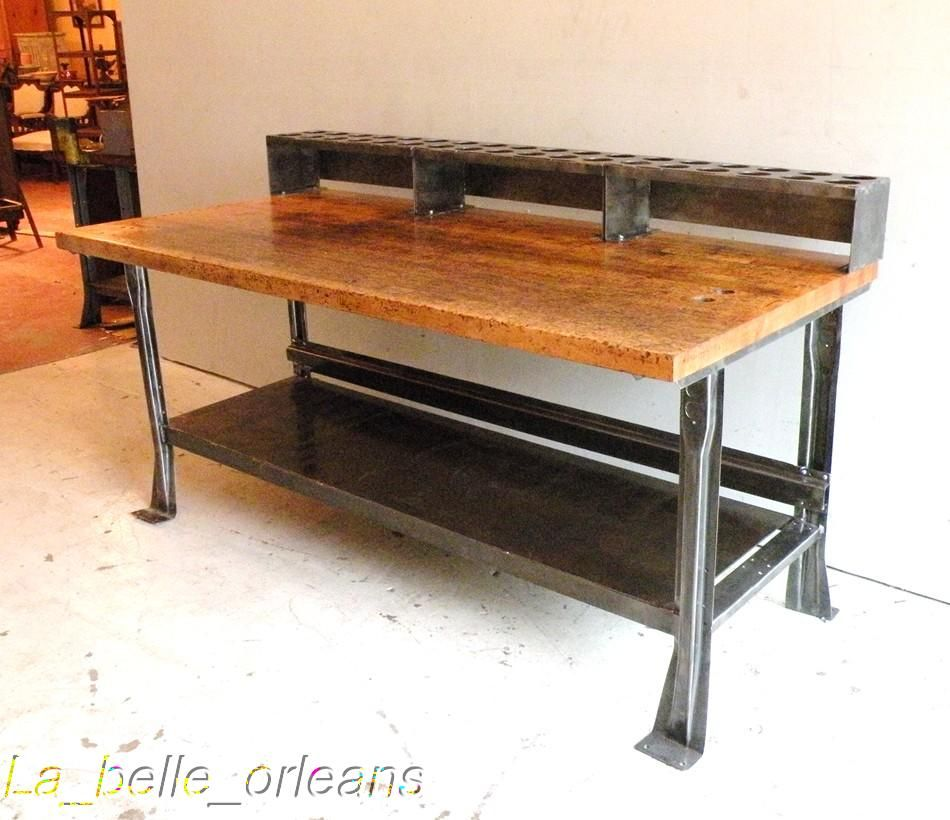AWSOME VINTAGE INDUSTRIAL STEEL AND MAPLE TOP ISLAND For