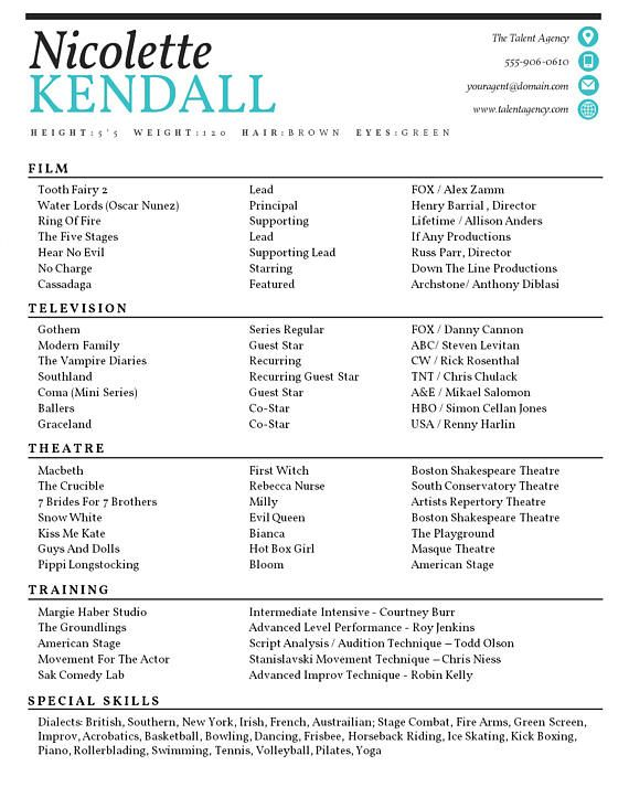 Actor Resume Template / 8 x 10 Acting Resume / Instant Digital