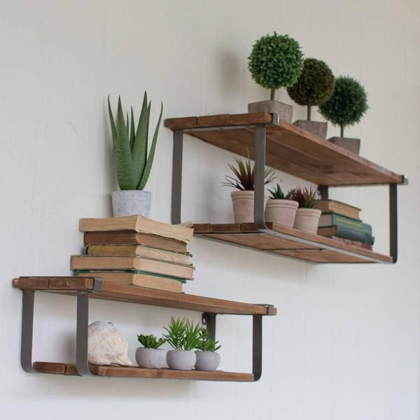 Recycled Wood And Metal Floating Shelves Set Of 2 Upper Earth Avec Images Decoration Deco Decoration Murale