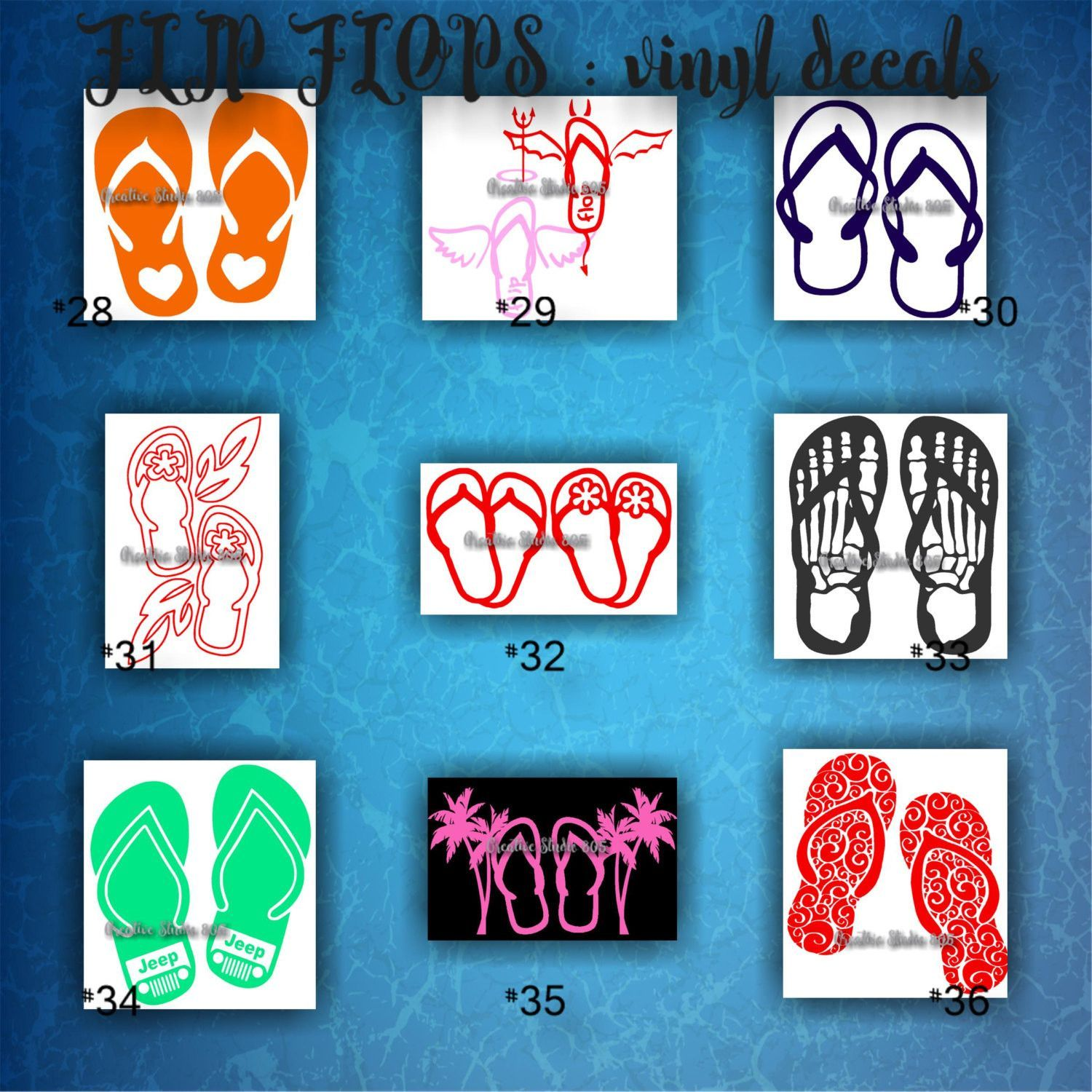 FLIP FLOPS Vinyl Decals Car Window Stickers Custom Vinyl Sticker - Car window stickers printing
