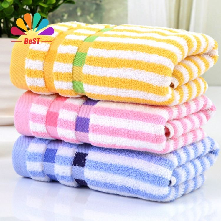 Colored Hand Towels Striped 3 Color Microfiber Children Face