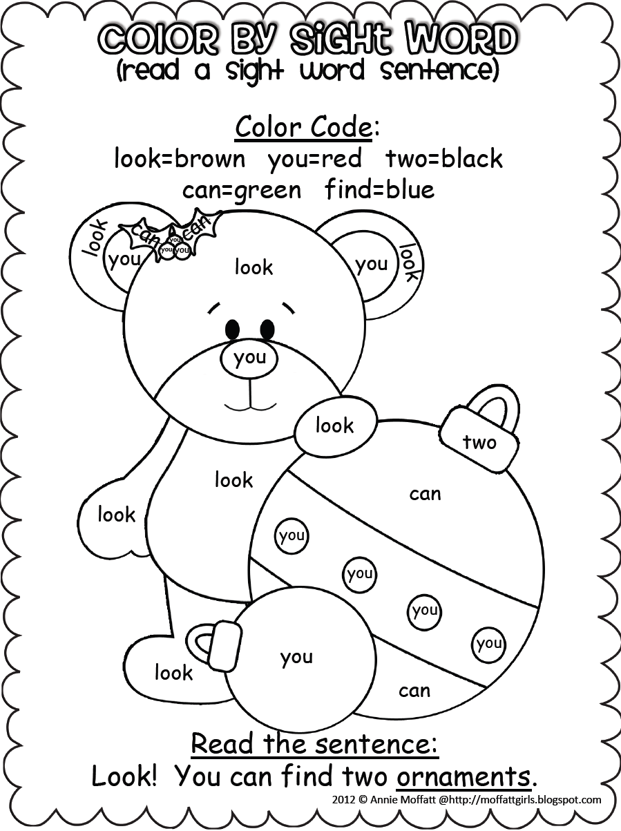 Coloring sheets sight words - Christmas Color By Sight Word Sentences Pre Primer