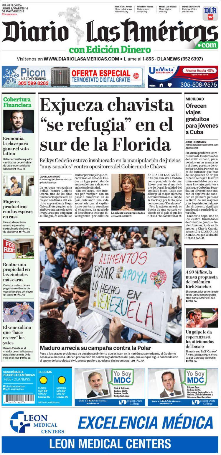 #20160509 #USA #FLORIDA #MIAMI Lunes 09 MAY 2016 #DiarioLasAméricasMIAMI20160509 http://en.kiosko.net/us/2016-05-09/np/diario_americas.html