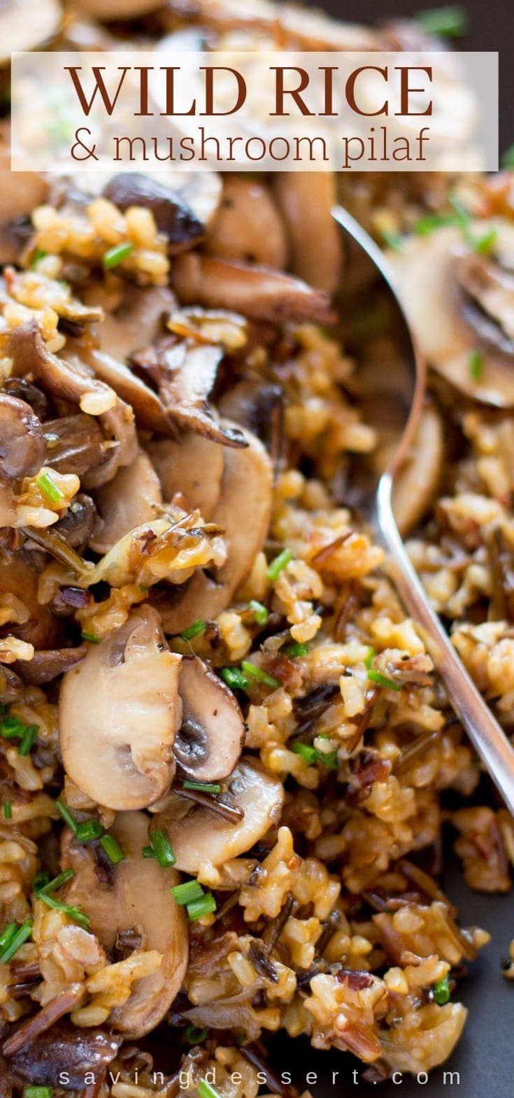 Wild Rice and Mushroom Pilaf #dinnersidedishes