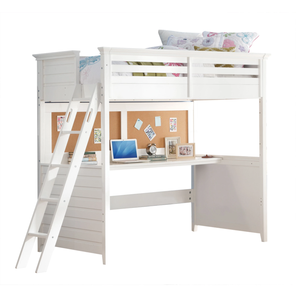 Acme Lacey White Wood Finish Kids Twin Loft Bed With Desk Twin