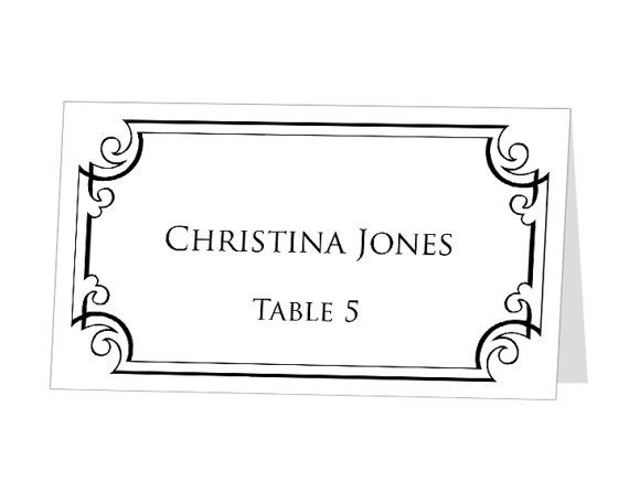 Instant download print at home place cards template by for Table placement cards templates