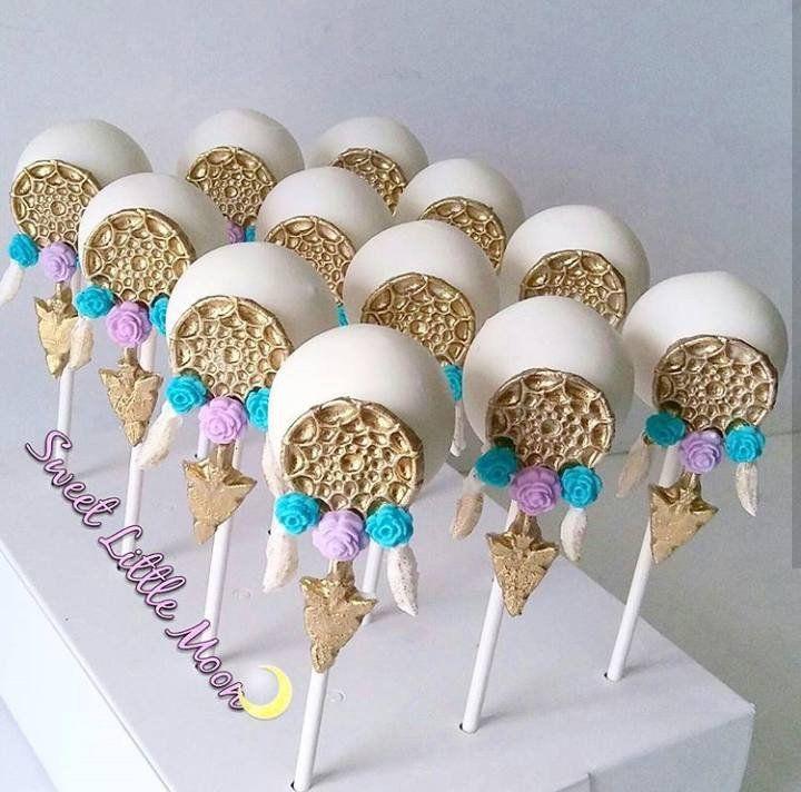 Bohemian Birthday Party-Dream Catcher Cake Pops And Teepee Rice Krispy Treats