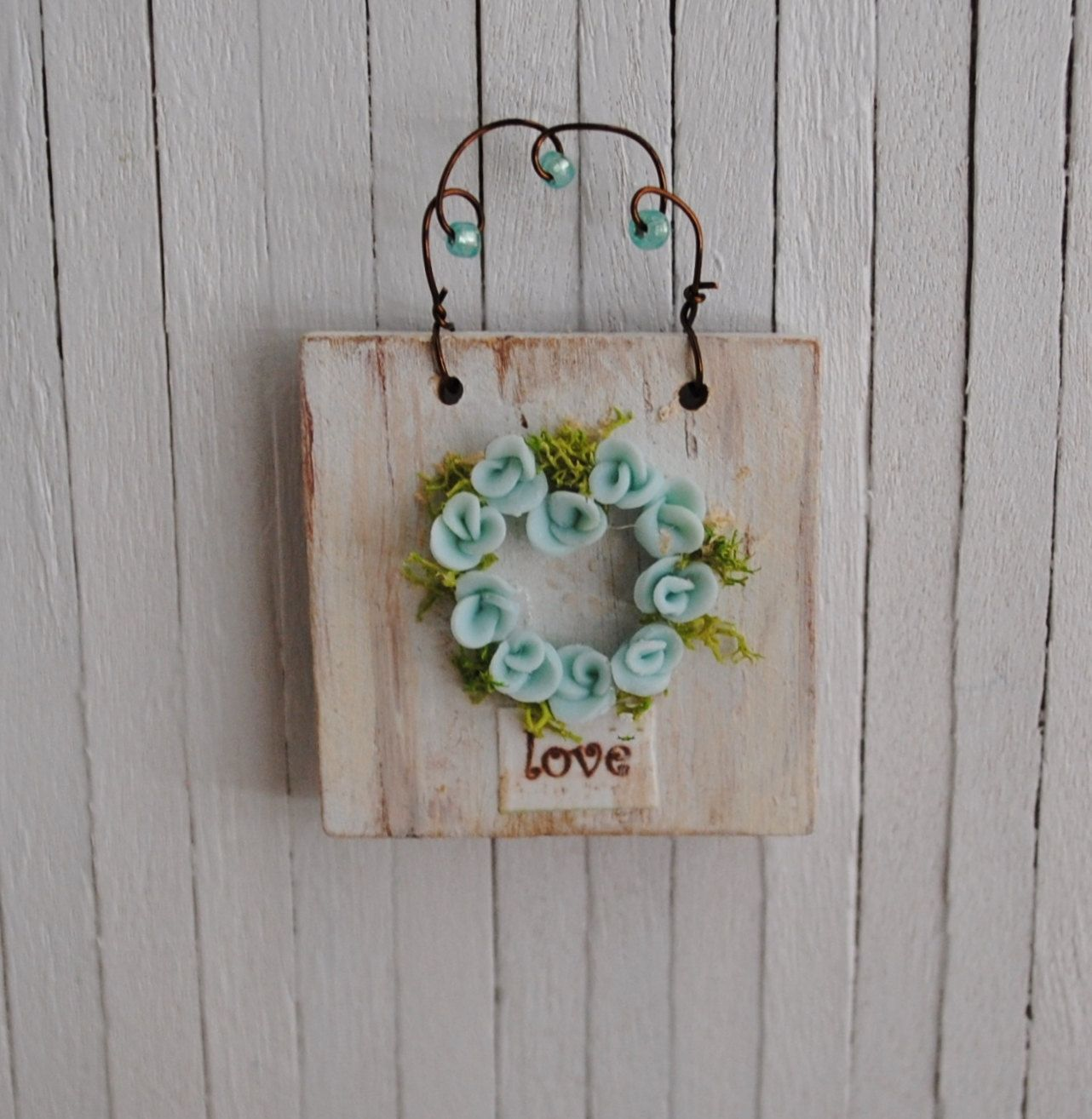 Miniature Shabby Chic Rose Heart Wall Hanging