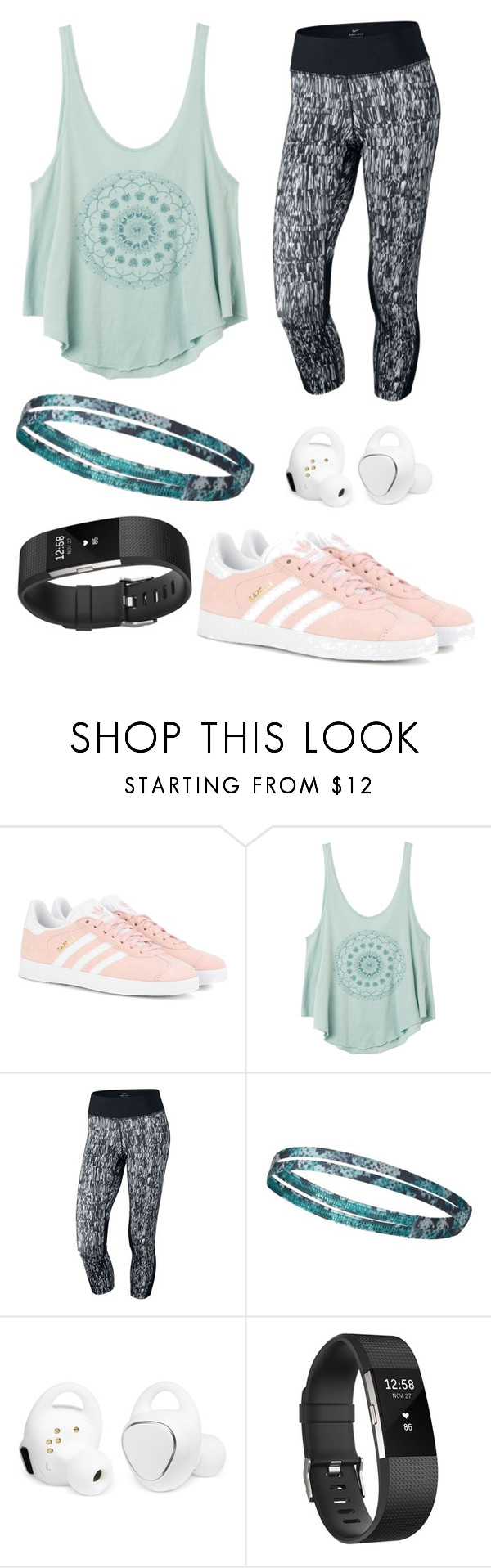 """""""Going for a run"""" by kupcakecat ❤ liked on Polyvore featuring adidas Originals, RVCA, NIKE, Columbia, Samsung and Fitbit"""