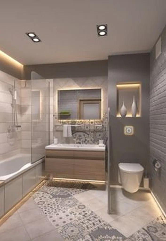 68 Modern Bathroom Tile Design Trends 2020 In 2020 Small Master Bathroom Bathroom Design Small Bathroom Remodel Master