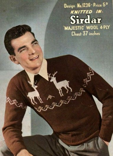 PDF Knitting Pattern for Mans Norwegian Style Reindeer/Stag Sweater - 1950s Retro