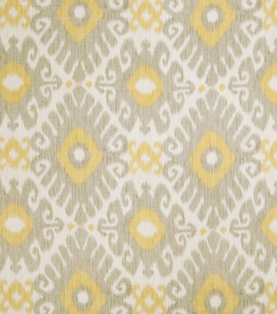 Home Decor  Print Fabric- Jaclyn Smith Ikat Rot Dove Gray