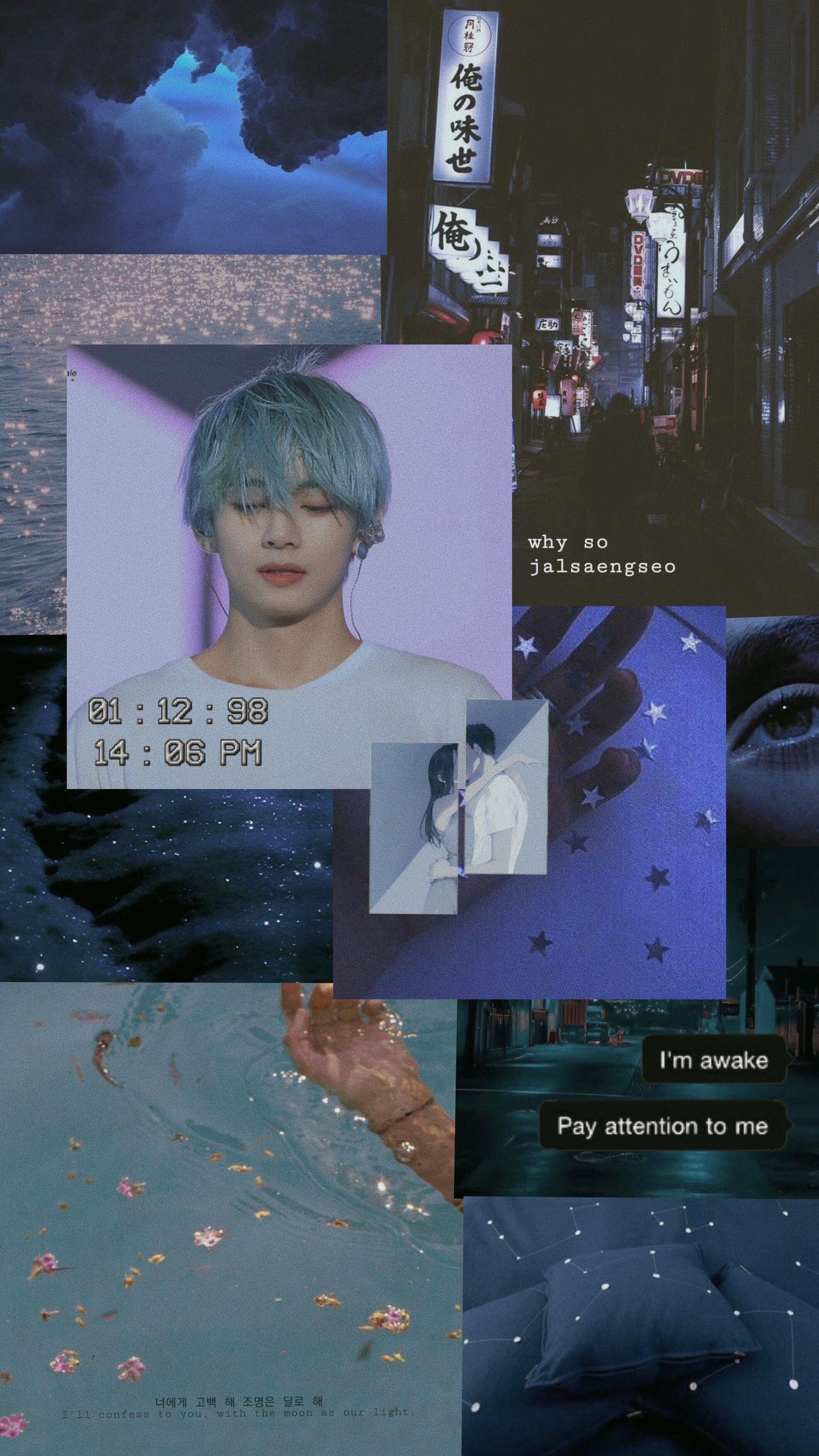V Kim Taehyung Bts Blue Aesthetic Wallpaper Blue Aesthetic Aesthetic Wallpapers Kim Taehyung Wallpaper