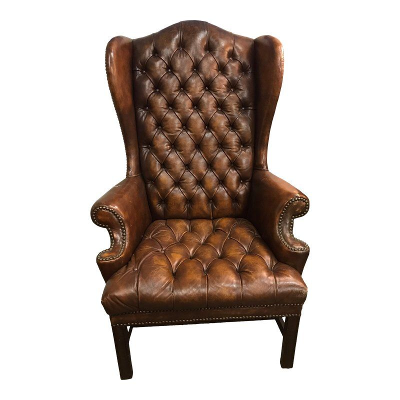 Admirable English Brown Leather Tufted Chesterfield Wingback Chair In Uwap Interior Chair Design Uwaporg