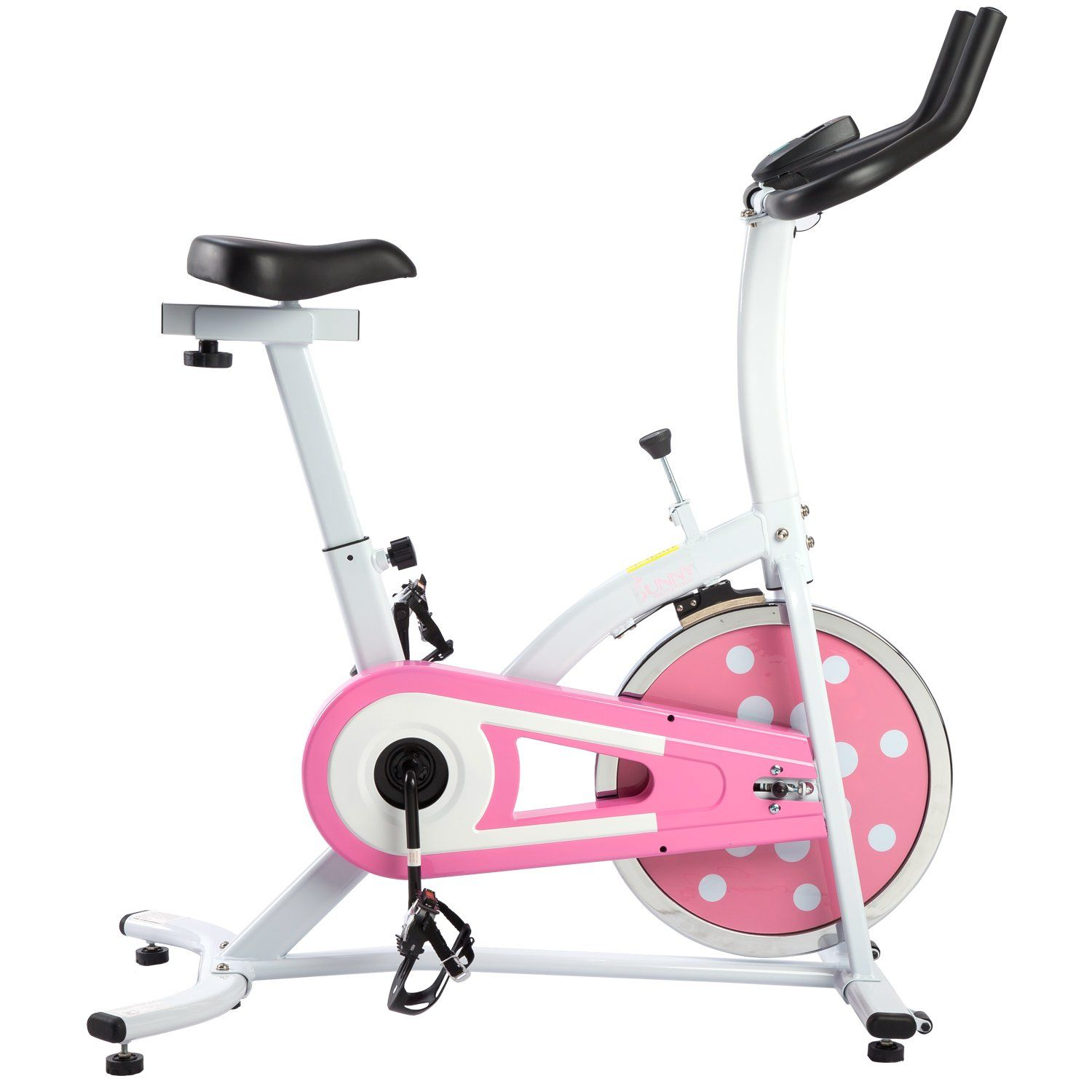Sunny Health and Fitness Indoor Cycling Bike (Pink). Adjustable seat height. 22lb flywheel. Chain drive mechanism for smooth and quiet workouts. Heavy duty crank and steel frame. Adjustable resistance.
