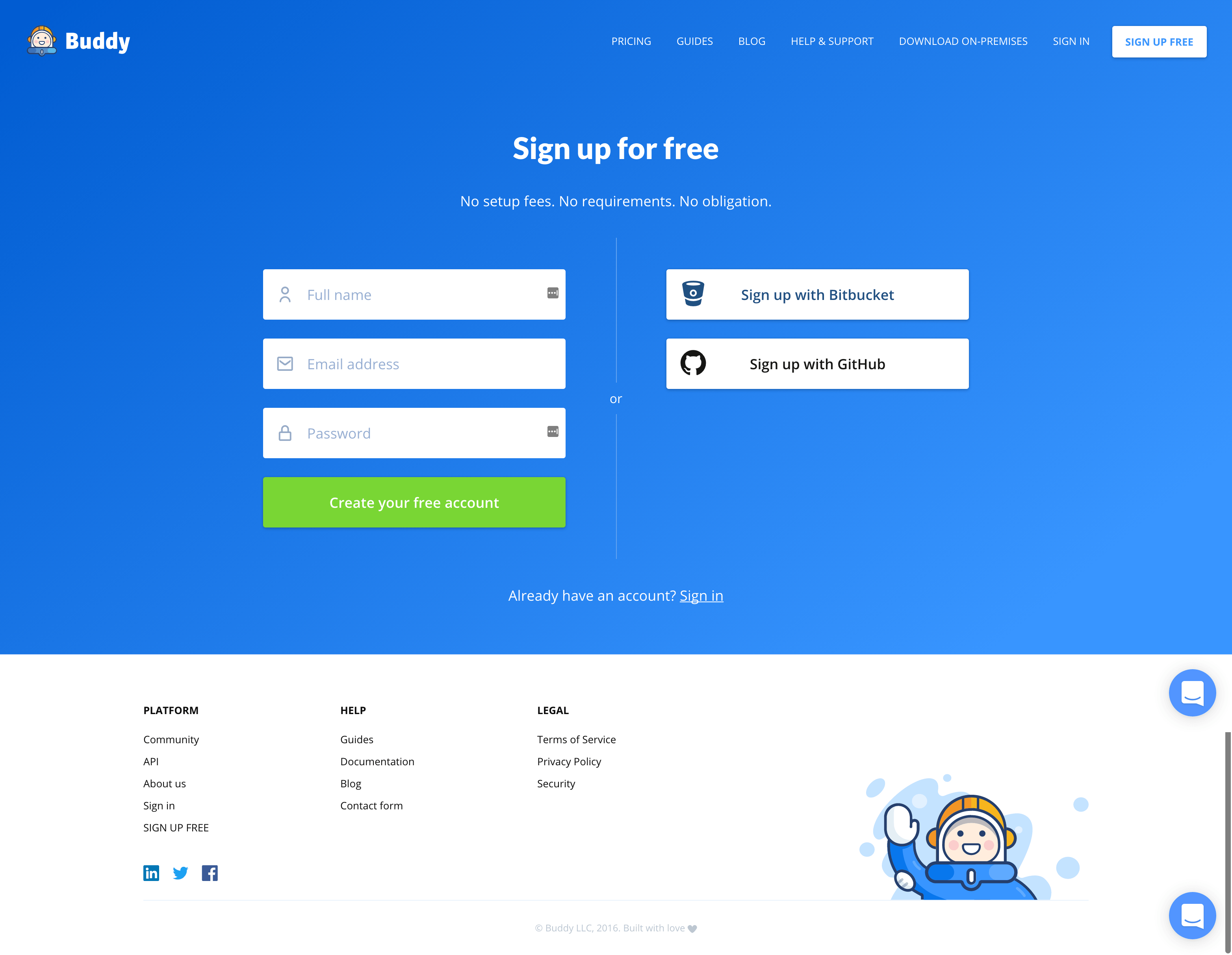 Buddy page sign up