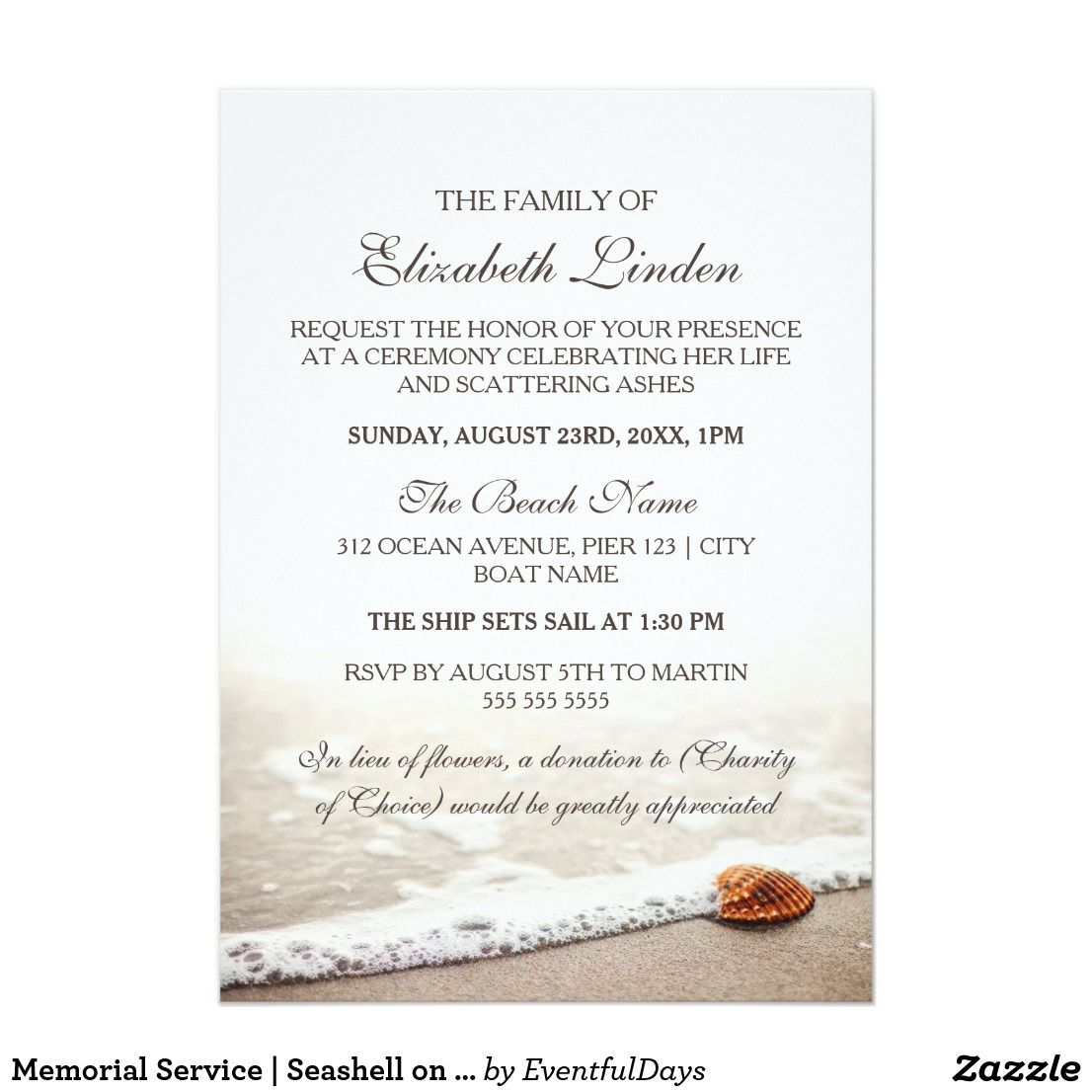 Memorial Service Seashell On The Beach Invitation Zazzle Com