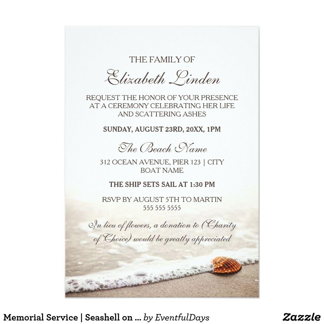 memorial service seashell on