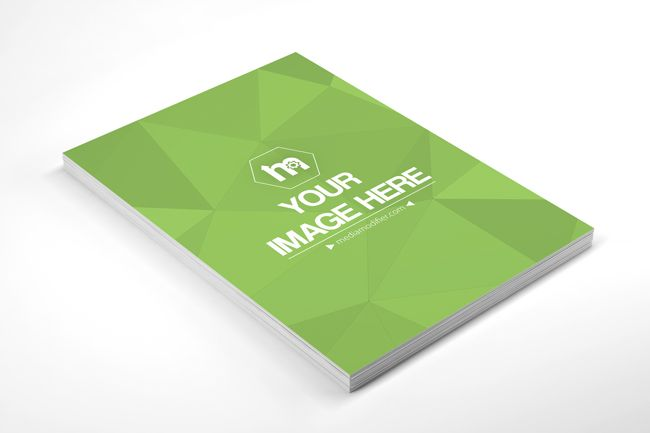 A 3D online mockup template with a stack of blank white papers - white paper templates