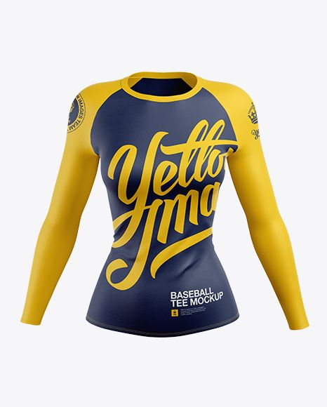 Download Women S Baseball T Shirt With Long Sleeves Mockup Front View In Apparel Mockups On Yellow Images Object Mockups Clothing Mockup Womens Baseball T Shirts Shirt Mockup