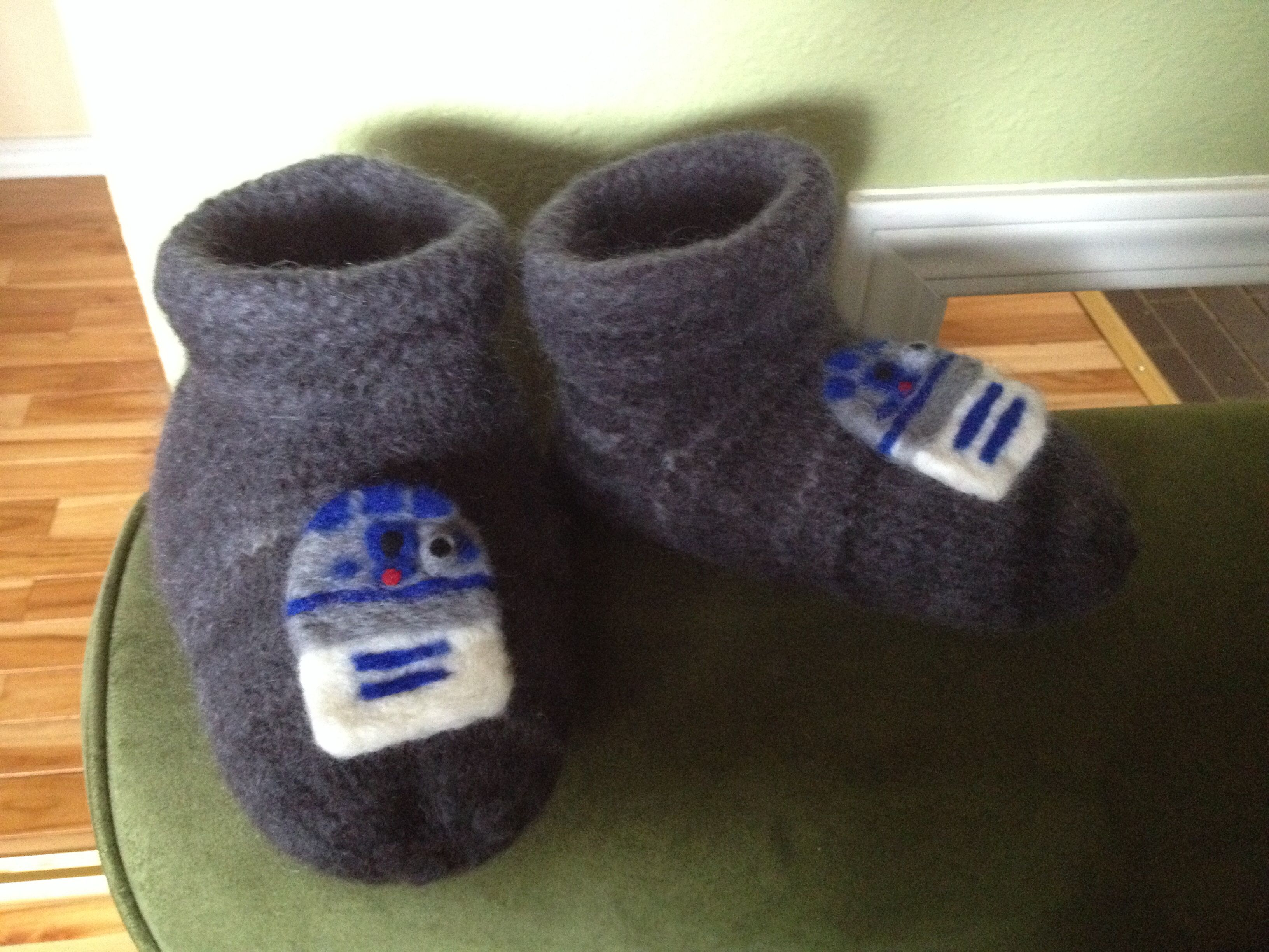 R2D2 Felted Slippers I knit then felted the slippers. The R2D2 motif was needle felted then sewn on.