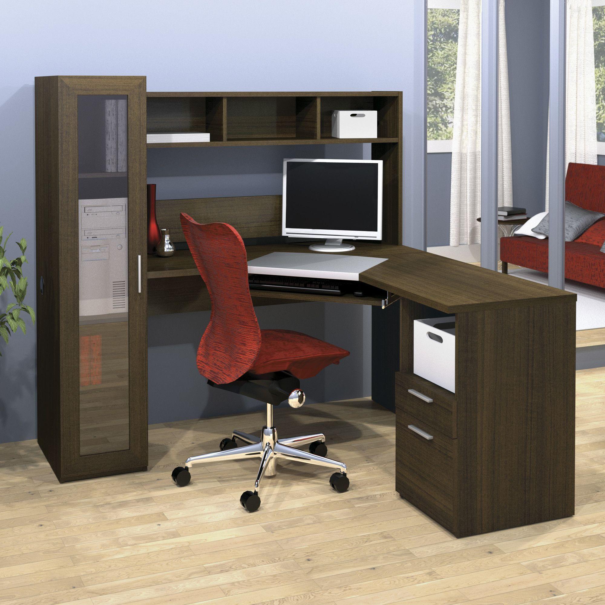 Jazz Corner Computer Desk with Hutch & Cabinet