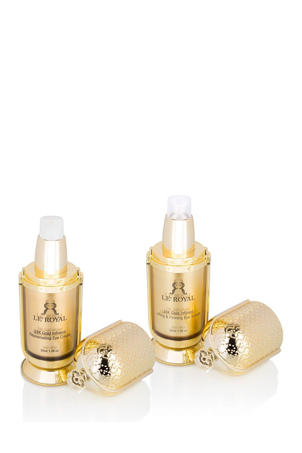 Le Royal 24k 2 Piece 24k Gold Eye Serum Eye Cream Bundle Gold Eyes Luxury Skincare Anti Aging Eye Serum