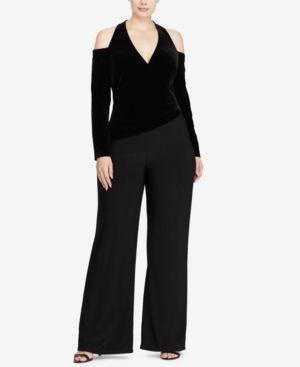 2a1e40520d56 Lauren Ralph Lauren Plus Size Velvet Cold-Shoulder Surplice Jumpsuit - Black